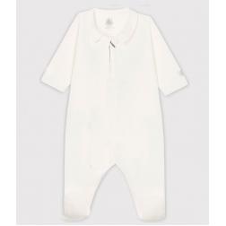 Dors-bien blanc zippé bébé en velours de coton biologique