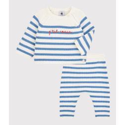 Ensemble 2 pièces marinière bébé en tricot laine et coton