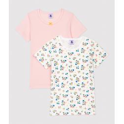 Lot de 2 tee shirts manches courtes imprimé fleuri petite fille en coton biologique