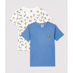 Lot de 2 tee shirts manches courtes imprimé panthères petit garçon en coton biologique