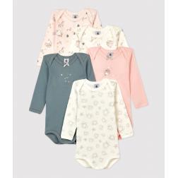 Lot de 5 bodies princesse manches longues bébé fille en coton
