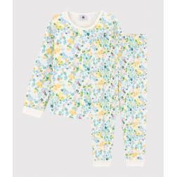 Pyjama à fleurs aquarellées petite fille en molleton