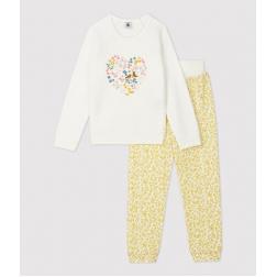 Pyjama fleuri petite fille en bouclette éponge grattée