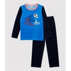 Pyjama petit garçon motif loup en velours