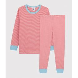 Pyjama rayé bleu petit garçon en coton