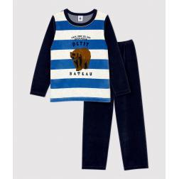 Pyjama rayé petit garçon en velours