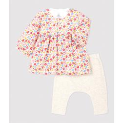 Robe legging à fleurs bébé fille en laine et coton biologique